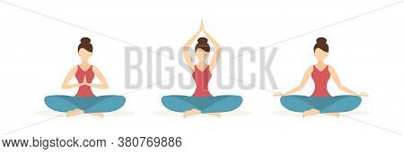 Set Of Girls In Yoga And Meditation Poses Isolated On White Background. Beautiful Woman Sitting In L