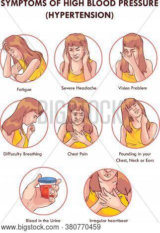 Vector - Symptoms Of High Blood Pressure Hypertension