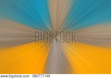 Abstract Radial Zoom Blur Surface In Yellow, Blue And Gray Tones. Abstract Background With Radial, R