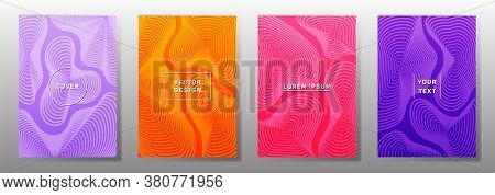 Curve Topography Lines Patterns Vector Minimal Covers Set. Geography Magazine Front Pages Topographi