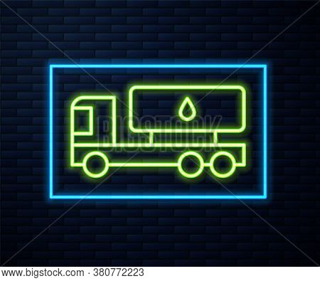 Glowing Neon Line Tanker Truck Icon Isolated On Brick Wall Background. Petroleum Tanker, Petrol Truc