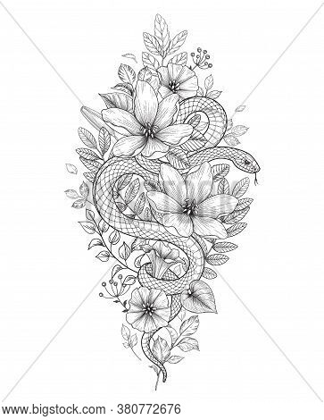 Hand Drawn Twisted Snake And Wild Flowers Isolated On White. Vector Monochrome Serpent And Wildflowe