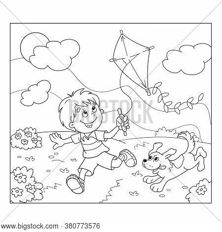 Coloring Page Outline Of Cartoon Boy Running With Kite With Dog. Coloring Book For Kids