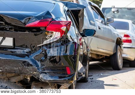 Accident involving many cars on the road