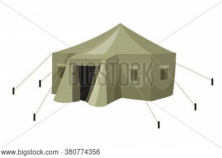 Green Military Tarpaulin Tent With Rope For Army Camp Isolated On White Background. Tourism, Journey