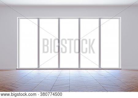 3d interior mock up with big windows and white walls