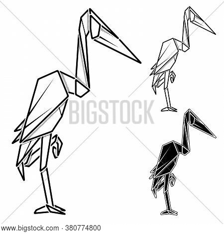 Vector Monochrome Image Of Paper Origami Of Heron (contour Drawing By Line).