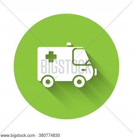 White Ambulance And Emergency Car Icon Isolated With Long Shadow. Ambulance Vehicle Medical Evacuati
