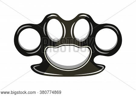 Crime Metal Brass Knuckle Duster Isolated On White Background. Criminal Contact Shock-crushing Weapo