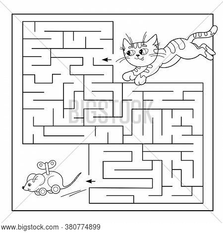 Cartoon Vector Illustration Of Education Maze Or Labyrinth Game For Preschool Children. Puzzle. Colo
