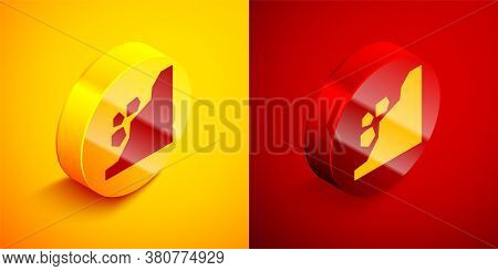Isometric Landslide Icon Isolated On Orange And Red Background. Stones Fall From The Rock. Boulders