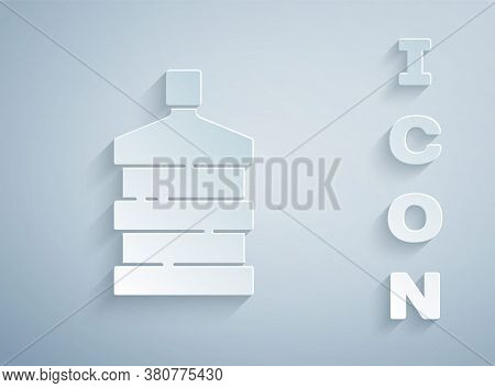 Paper Cut Big Bottle With Clean Water Icon Isolated On Grey Background. Plastic Container For The Co