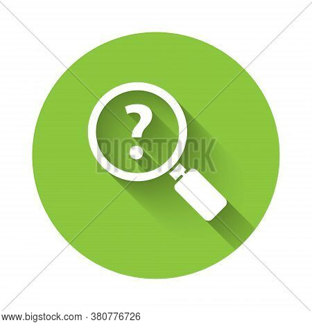 White Unknown Search Icon Isolated With Long Shadow. Magnifying Glass And Question Mark. Green Circl