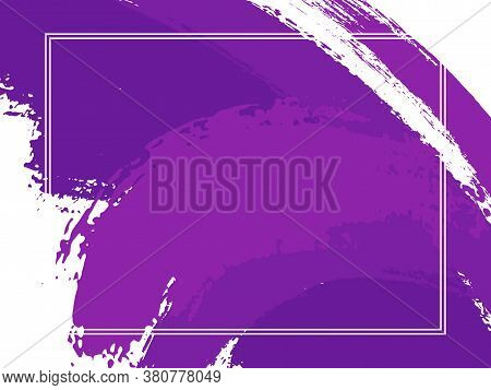 Horizontal Border With Paint Brush Strokes Background.  Grunge Design Template For Card. Vector Bord