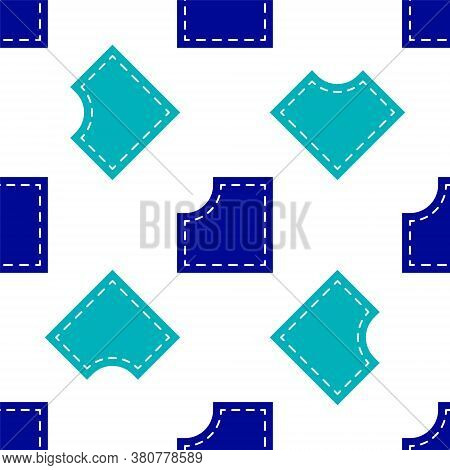 Blue Sewing Pattern Icon Isolated Seamless Pattern On White Background. Markings For Sewing. Vector