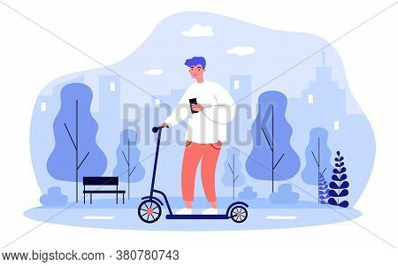 Hipster Guy With Smartphone Riding Electric Scooter In City. Young Man Using Portable Urban Transpor