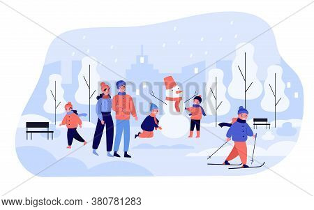 People Spending Leisure Time In Park, Family Couple And Kids Enjoying Outdoor Winter Activities, Mak
