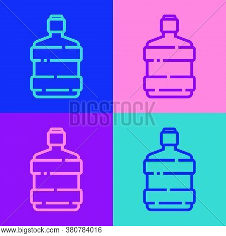 Pop Art Line Big Bottle With Clean Water Icon Isolated On Color Background. Plastic Container For Th