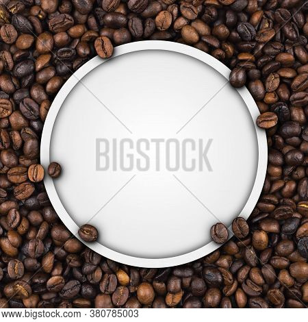 Closeup Of Empty White Label Paper On Heap Of Roasted Coffee Beans For Use As Coffee Web Banner, Cof