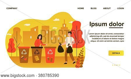 Positive Man And Woman Sorting Waste. Volunteers, Trash Bin, Garbage Collecting Flat Vector Illustra