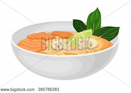 Noodle Soup With Salmon Slabs And Mushrooms As Seafood Dish Vector Illustration