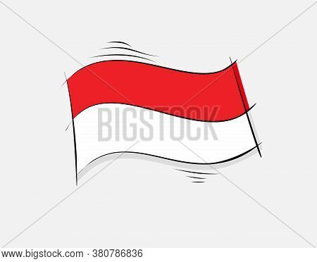 Indonesian Flag On White Background In Vector Illustration