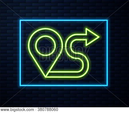 Glowing Neon Line Route Location Icon Isolated On Brick Wall Background. Map Pointer Sign. Concept O