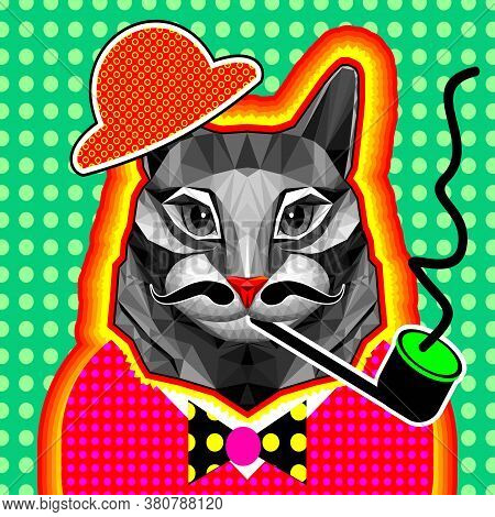 A Cat In A Low-poly Style Smokes A Pipe. Pop Art. Zin Culture. Surrealism. Geometric Multicolored Ve