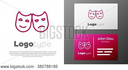 Logotype Line Comedy And Tragedy Theatrical Masks Icon Isolated On White Background. Logo Design Tem