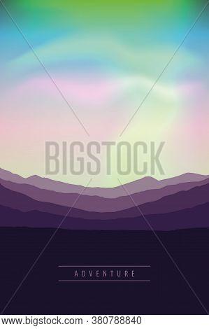 Beautiful Aurora Borealis Background Colorful Sky Vector Illustration Eps10
