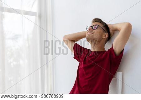 Happiness Caucasian Man Smiling In White Room