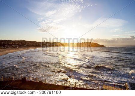 Scenic Sunrise Over The Bondi Beach, Australia