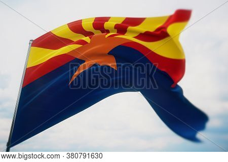 Flags Of The States Of Usa. State Of Arizona Flag. 3d Illustration. United States Of America States