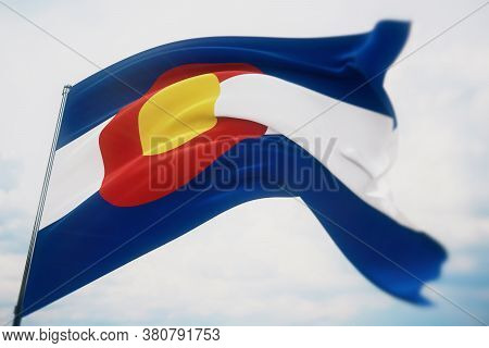 Flags Of The States Of Usa. State Of Colorado Flag. 3d Illustration. United States Of America States