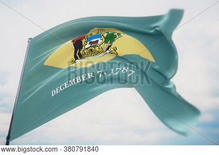 Flags Of The States Of Usa. State Of Delaware Flag. 3d Illustration. United States Of America States