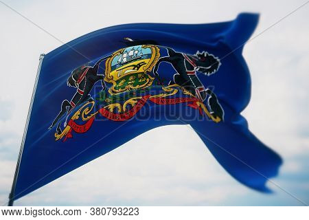 Flags Of The States Of Usa. State Of Pennsylvania Flag. 3d Illustration. United States Of America St