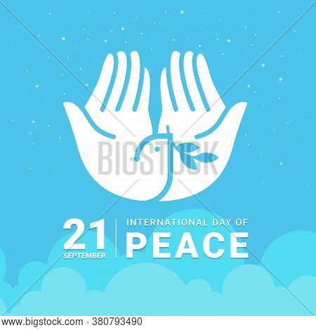 International Day Of Peace - White Hand Making The Form Of Dove Hold Leaf Sign On Sky Vector Design