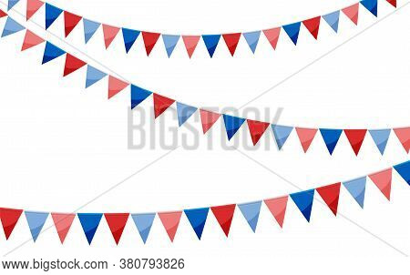 Red Blue Paper Bunting Party Flags Isolated On White Background. Carnival Garland With Flags. Decora