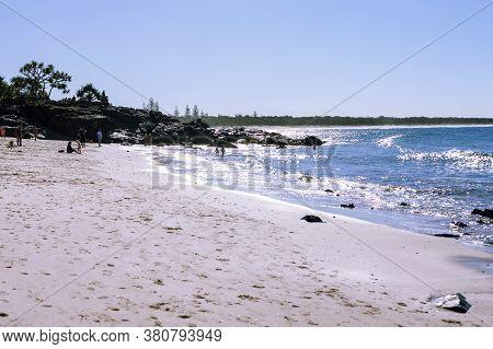 Byron Bay, Australia - June 1, 2016: People At The Sandy Beach
