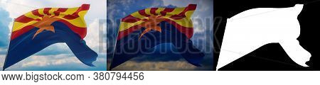 Flags Of The States Of Usa. State Of Arizona Flag. 3d Illustration. Set Of 2 Flags And Alpha Matte I