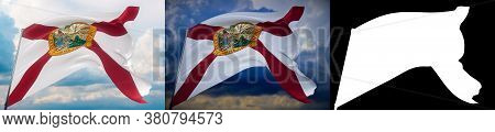 Flags Of The States Of Usa. State Of Florida Flag. 3d Illustration. Set Of 2 Flags And Alpha Matte I