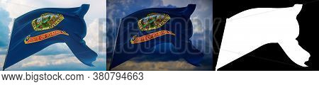 Flags Of The States Of Usa. State Of Idaho Flag. 3d Illustration. Set Of 2 Flags And Alpha Matte Ima