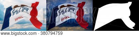 Flags Of The States Of Usa. State Of Iowa Flag. 3d Illustration. Set Of 2 Flags And Alpha Matte Imag