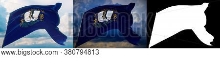 Flags Of The States Of Usa. State Of Kentucky Flag. 3d Illustration. Set Of 2 Flags And Alpha Matte