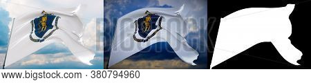 Flags Of The States Of Usa. State Of Massachusetts Flag. 3d Illustration. Set Of 2 Flags And Alpha M