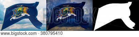 Flags Of The States Of Usa. State Of New York Flag. 3d Illustration. Set Of 2 Flags And Alpha Matte
