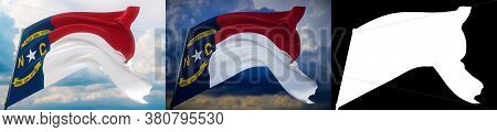 Flags Of The States Of Usa. State Of North Carolina Flag. 3d Illustration. Set Of 2 Flags And Alpha
