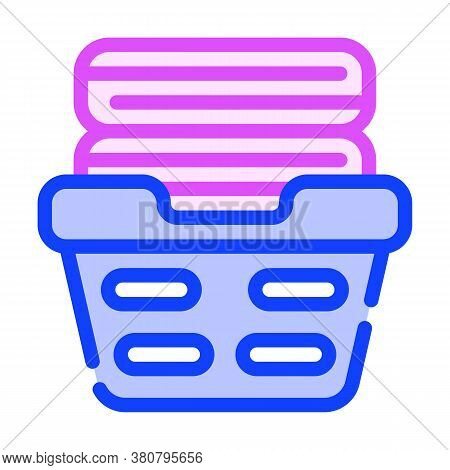 Washed Clean Clothes In Basket Color Icon Vector Illustration