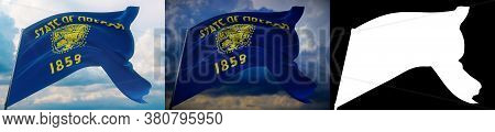 Flags Of The States Of Usa. State Of Oregon Flag. 3d Illustration. Set Of 2 Flags And Alpha Matte Im