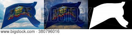 Flags Of The States Of Usa. State Of Pennsylvania Flag. 3d Illustration. Set Of 2 Flags And Alpha Ma